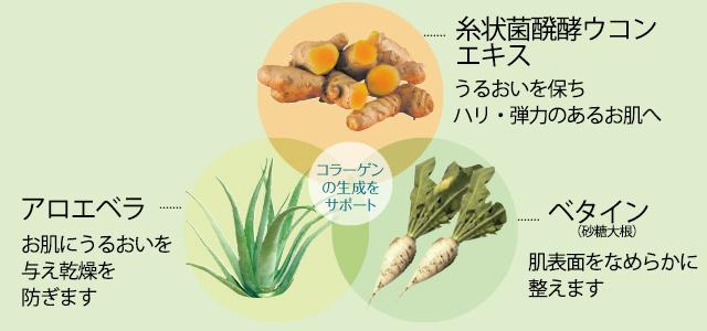 クルクベラ モイストコンディショナーは糸状菌醗酵ウコンエキス・アロエベラ・ベタインの3つの成分のみ配合